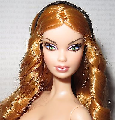 Nude Barbie ~ Auburn Green Eyes Top Model Muse Summer Steffie Doll For Ooak