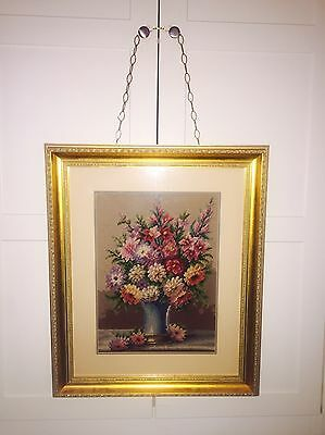 Large Beautiful Vintage Tapestry Needlepoint Framed Picture Flowers In A Vase