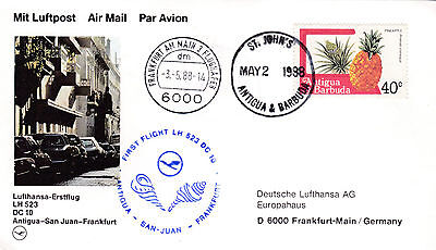 1988 Antigua And Barbuda First Flight Postcard Flown To Germany 20*