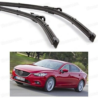 2Pcs Car Front Windshield Wiper Blade Bracketless Fit for Mazda 6 2013-2016