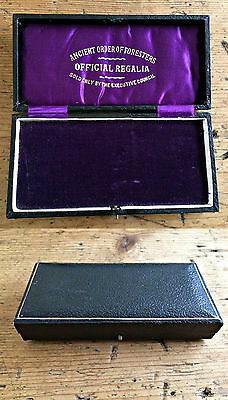 RARE Ancient Order Of Foresters Antique Victorian Masonic Medal Presentation Box