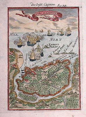 Isles De Cayenne  By Alain Mallet 1683 (But Later).