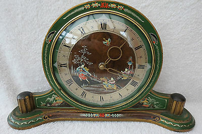 Lovely Vintage Smiths Chinoiserie 8 Day Mantel Clock For Tlc