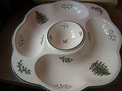 "Spode ""xmas Tree"" Design Chip And Dip Serving Dish."