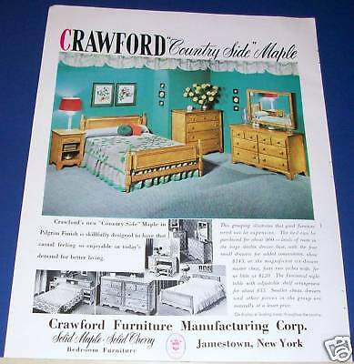 1951 Crawford Country Side Maple bedroom furniture Ad ~ Jamestown, NY