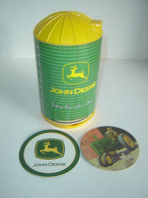 John Deere Cardboard Drink Coasters In Yellow And Green Plastic Silo