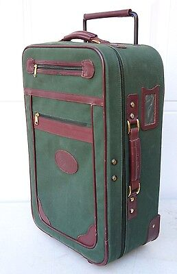 """Vintage Orvis Battenkill Rolling Canvas/Leather Suitcase Luggage Carry On 23"""""""