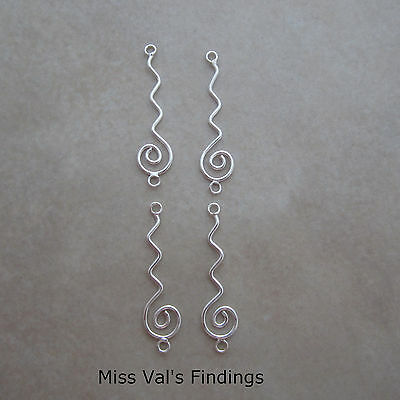 4 sterling silver wavy swirl jewelry link connector