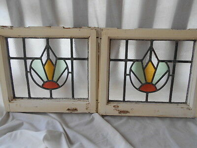 Pair * Antique English Stained Glass Windows * Original Wood Frames * Awesome