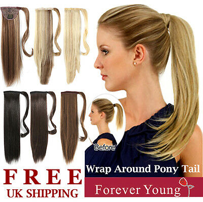 Clip In Ponytail Hair Extension Wrap On Pony Thick Hair Piece Straight Wavy UK