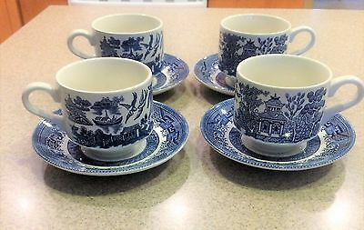 Churchill England Blue Willow Coffee Mug Tea Cup & Saucers Set Of 4