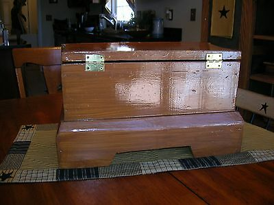 Vintage Handmade Wood Document Box Trunk Chest Ornate Brass Handles Primitve