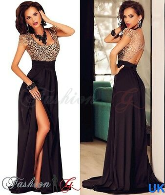 Womens Evening Dress Maxi, Black Ball Gown Prom Party Formal Long Lace Size 8 10