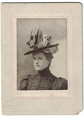 1898 Cabinet Photo of Young Lady in decorative hat - small photo - Named