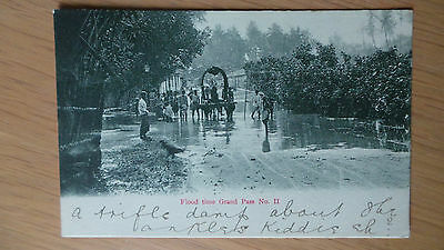 ceylon postcard grand pass flood, early stamped , great scene