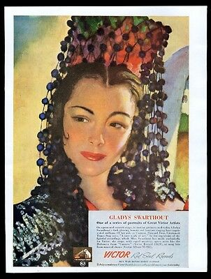 1943 Gladys Swarthout color portrait RCA Victor Red Seal Record vintage print ad