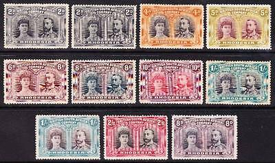 Rhodesia 1910-14 DOUBLE HEADS-11 STAMPS TO 2/6 ALL POS 2 VARIETY GASH IN EAR MM