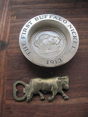 Avon Buffalo Ashtray and Brass Buffalo Bottle Opener, Both need cleaning