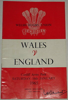 Wales England Rugby Union Programme 1965