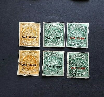 Antigua, 1916 - 1918, SG51, 52 and 53, M/M and used war effort