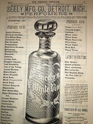 Seely Perfume Mfr Detroit Michigan Illustrated 1880's Ad Wheel Cut Bottle