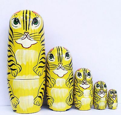 """Cats Tigers Nesting Stacking Dolls 6.5"""" Fast Shipping"""