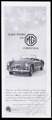 1959 MG MGA convertible car photo Christmas vintage print ad
