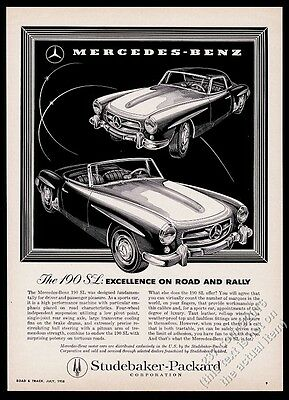 1958 Mercedes-Benz 190SL 190 SL roadster and coupe car vintage print ad