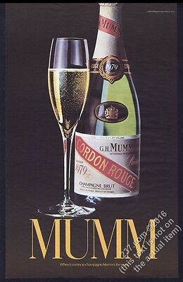 1985 Mumm Cordon Rouge champagne 1979 bottle BIG photo vintage print ad