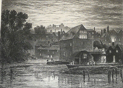 RICHARD SAMUEL CHATTOCK -Etching-Dramatic/ River/ Town Landscape at night -1880s