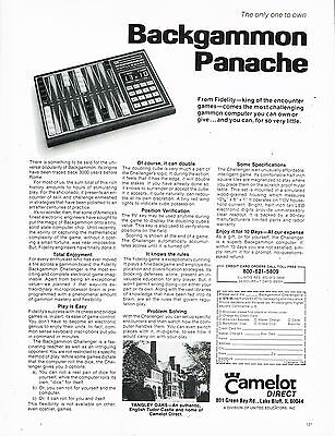 Backgammon - Panache - Camelot Direct - Antique - Vintage 1979 Magazine Ad