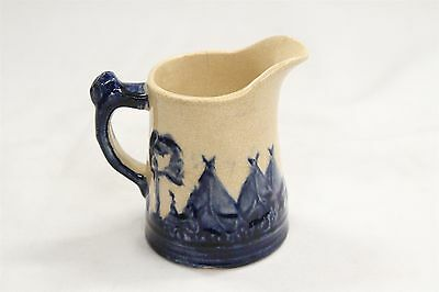 Antique Old Sleepy Eye Teepees Chief Blue White Pottery Creamer Pitcher