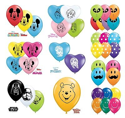 """Disney Character Themed Qualatex 5"""" Round & 6"""" Heart Shaped Latex Party Balloons"""