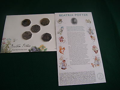 beatrix potter 50p full set peter,tiggy,jemima,nutkin,150 yrs +1st day envelope