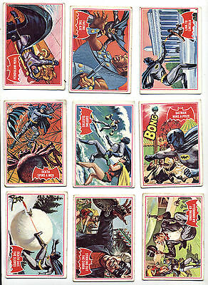 Vintage 1966 Topps Red Bat-Shield Batman Cards (18) All Different Avg. VG