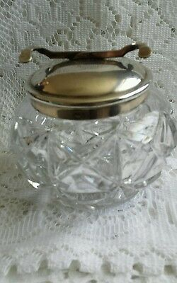 Vintage Pascalls SOS Cut Glass Sugar Bowl With Integrated Tongs Silver Plated