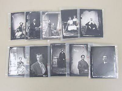 10 Vintage Glass Photographic Slides With Contact Prints
