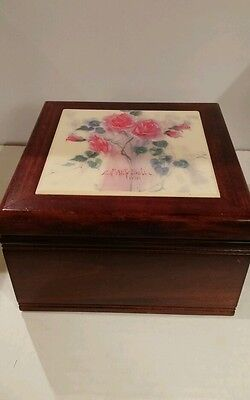 MARTY BELL wooden JEWELRY BOX with tile on top signed by Marty Bell....Rare