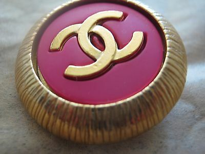 Chanel  Gold  Metal Cc Logo Front Pink  Resin  Button  22 Mm New