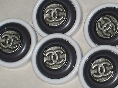 Chanel  5 Silver Metal Cc Logo Front Grey White Resin  Button 14 Mm New Lot 5