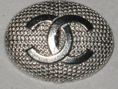 CHANEL  CC LOGO FRONT AUTH MATTE SILVER  BUTTON TAG 16 x 12 MM emblum NEW