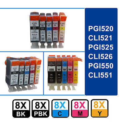 40 Chipped Ink Cartridges for Canon PIXMA Printer PGI550 CLI551 525 526 520 521