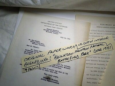 Very Rare Kennesaw Mountain Battlefield Park Paperwork Dept of Interior 1941