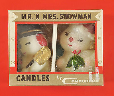 Vintage Holiday Xmas Mr. & Mrs. Snowman Candles Commodore Original Box Unburned