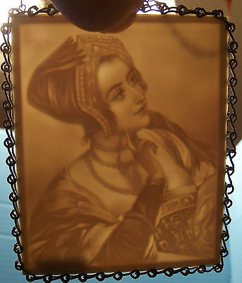 vintage Lithophane Panel German Lovely Young Girl/Lady