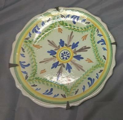 Antique Old Hand Painted Majolica Faience Art Pottery Plate France French Dish A