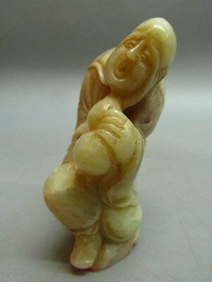 Chinese Shou Shan Stone Carved Monk Shape Chop Stamp / Seal
