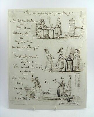 19th century pen & ink cartoon sketch The Experiences Of A German Maid