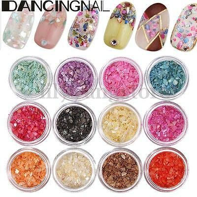 12 Color Crushed Shells Chips Nail Art Glitter Powder Dust Acrylic