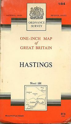 Ordnance Survey Map No 184 HASTINGS - Cloth - 1959